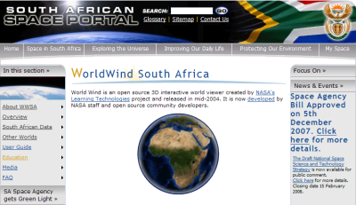 WorldWind South Africa portal